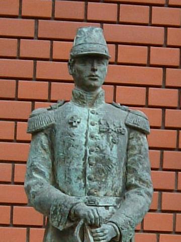 「シーボルト記念館」前にある若き日のシーボルト像
