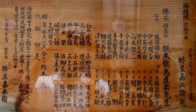 材木商「酢屋」入口の看板。海援隊名簿