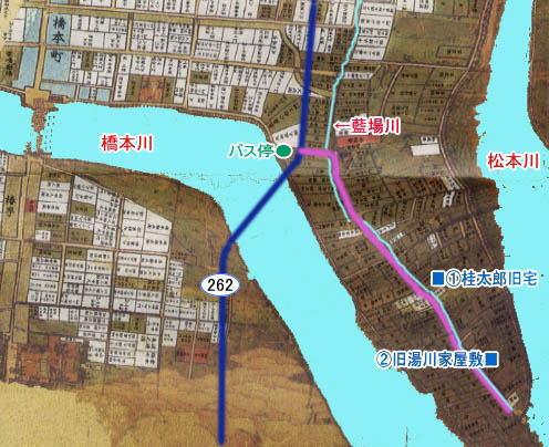 萩・藍場川周辺古地図(桂太郎旧宅、旧湯川家屋敷跡を記入)