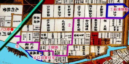 萩の古地図(鍵曲、口羽家住宅を記入)