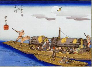 安藤広重画・三十石舟