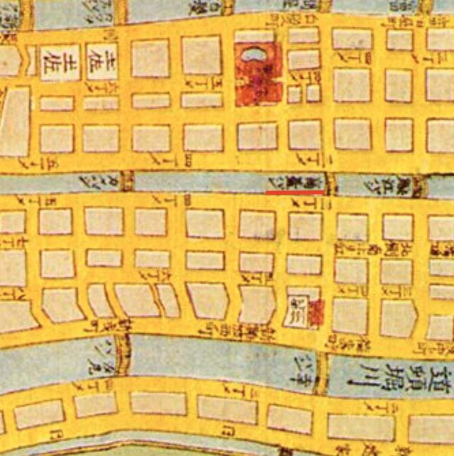 大阪の古地図、高台橋付近