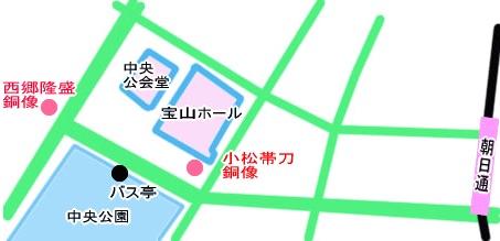 小松帯刀像・西郷隆盛像地図