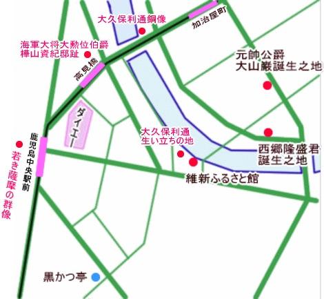 鹿児島中央駅-加治屋町周辺地図(大久保利通生い立ちの地・銅像)