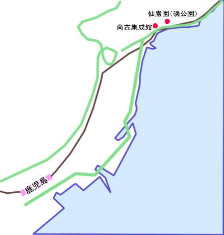 仙巌園・尚古集成館アクセスマップ